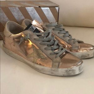 Rose gold golden goose sneakers with box
